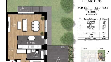 Apicultorilor 44 – apartament 2 camere cu terasa si gradina